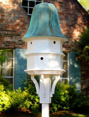 Heartwood The Barrington Bird House, White w/ Verdigris Roof 104C