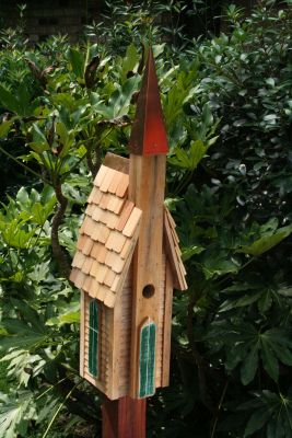 Heartwood Plymouth Bird House - Natural/Shingled Roof and Copper Steeple 154B
