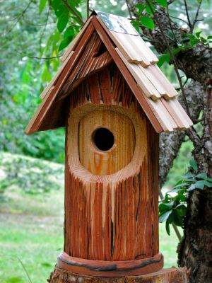 Heartwood The Woodcutter Bird House - Antique Cypress/Shingled Roof 204A