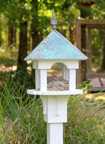 Heartwood Sky Box Café Wild Bird Feeder White PVC w/ Verdigris Copper Roof # 249A