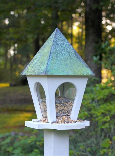 Heartwood Wild Bird Bistro with Verdigris Metal Roof,  White PVC 250A