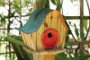 Heartwood Katy's Kottage Bird House - Natural/Red Door 237A