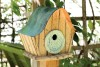 Heartwood Katy's Kottage Bird House - Natural/Green Door 237B