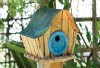 Heartwood Katy's Kottage Bird House - Natural/Blue Door 237C